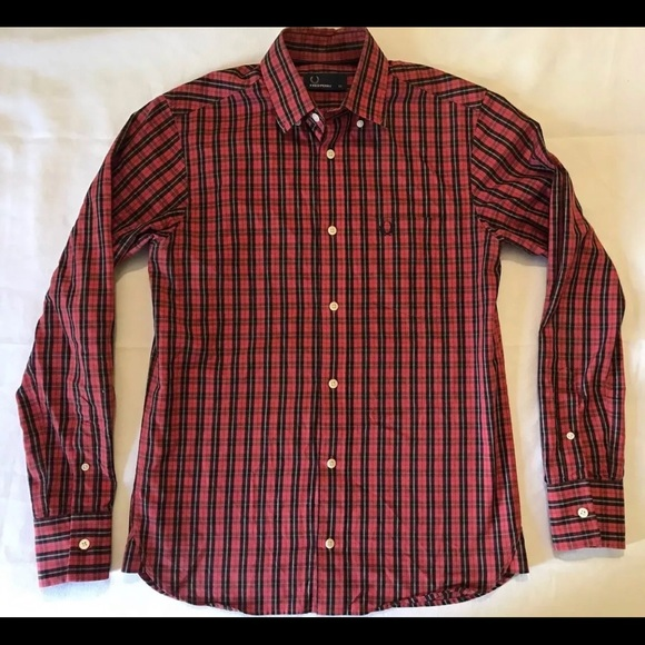 fafbd8364 Fred Perry Other - FRED PERRY Men s Red Checkered LS Oxford Shirt XS